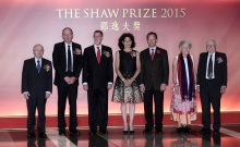 The Shaw Laureates 2015 (L to R) Professor Henryk Iwaniec (Mathematical Sciences); Proessor Gerd Faltings (Mathematical Sciences); Professor Peter Greenberg (Life Science and Medicine); Professor Bonnie Bassler (Life Science and Medicine) with her husband Todd Reichart and William Borucki (Astronomy) with his wife Josephine Borucki attend the Shaw Prize 2015 Presentation Ceremony at HKCEC, Wanchai. 24SEP15